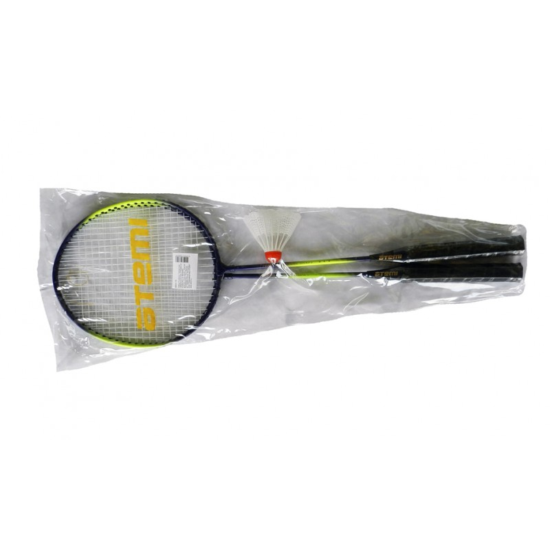 картинка BAS-13 Набор для бадминтона Atemi, 2 ракетки + волан, сталь, сине-салатовый