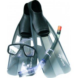 Набор маска, трубка, ласты WAVE MSF-1314S6F35 силикон, черный