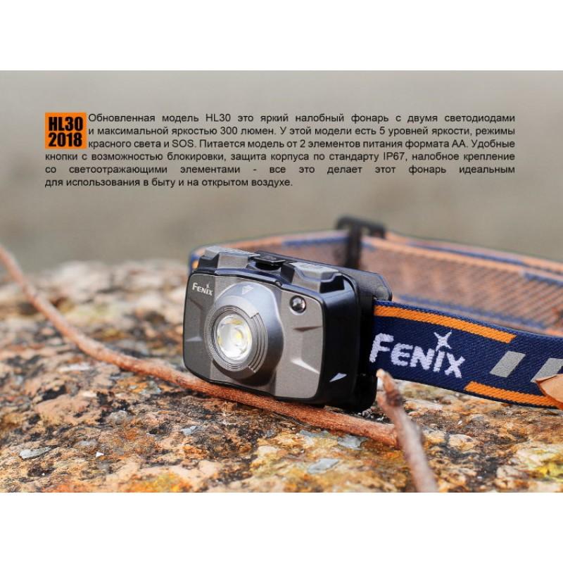 картинка Налобный фонарь Fenix HL30 (2018) Cree XP-G3 (синий, серый)