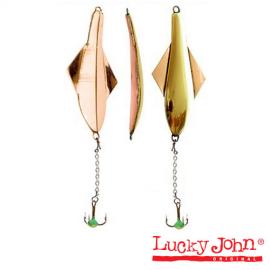 Блесна вертикальная зимняя Lucky John Glider с цепочкой и тройником 10.0г GC блистер