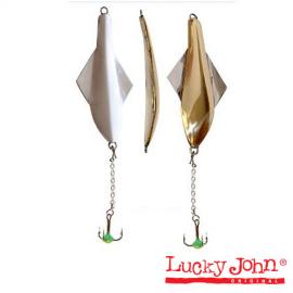 Картинка Блесна вертикальная зимняя Lucky John Glider с цеп. и тр. 10.0г GS Блистер