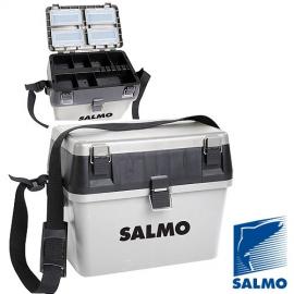 Картинка Ящик рыболовный зимний Salmo 2-х ярусный 2 части пластик 38*24.5*29см серый