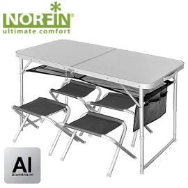Картинка Стол складной Norfin RUNN NF Alu 120x60 + 4 стула набор