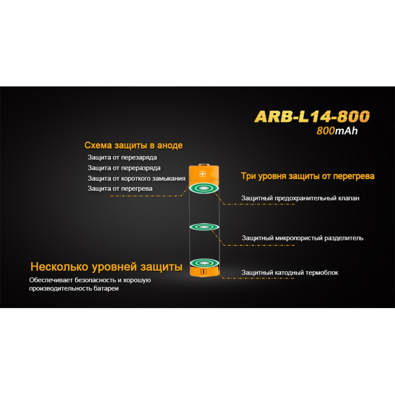 картинка Аккумулятор 14500 Fenix ARB-L14 800mAh