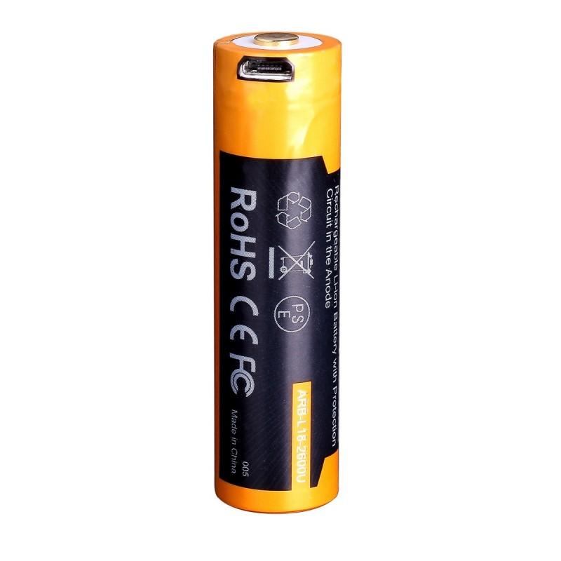 картинка Аккумулятор 18650 Fenix 2600U mAh с разъемом для USB